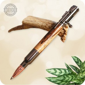 30 Cal Bolt Action Pen handcrafted from African Zebra Wood