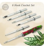 Crochet Hook Set 6 Sizes, Handmade Holly Berry Acrylic - Gifts for Mom