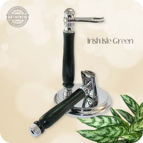 Speed Dial Classic Double Edge Razor w/ Stand - Handcrafted Green Irish Isles Acrylic