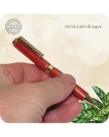 Credit Card Mini Ballpoint Twist Pen, M3 Metal Red Copper Handmade