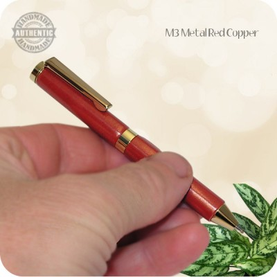Handmade Credit Card Mini Ballpoint Twist Pen, M3 Metal Red Copper