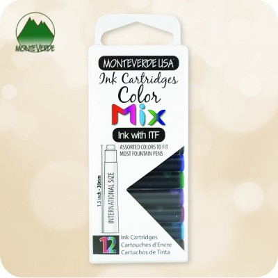 Mix Monteverde ITF Fountain Pen Ink Cartridges - 12pc - International Standard Size