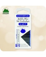 12pc Fountain Pen Ink Cartridges Monteverde ITF - International Short Size - Malibu Blue