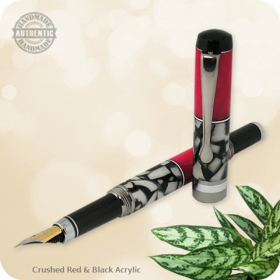 Flat Top Classic Fountain Pen - Burled Wood, Acrylics, Antler, Metal