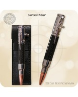 Mini Bolt Action Ballpoint Pen Handmade - Carbon Fiber, Chrome