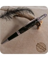 Lancer Twist Ballpoint Pen Handmade - Black Gold Matrix TruStone, Chrome