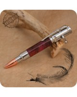 Mini Bolt Action Ballpoint Pen Handmade - Wood Segments, Chrome