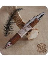 Mini Click Ballpoint Pen Handmade - Tigerwood Antler Horn, Chrome