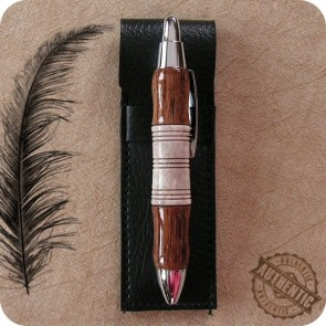 Pocket Mini Ballpoint Click Pen handcrafted from Tigerwood & Antler Horn