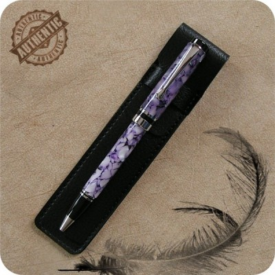 Flat Top Classic Ballpoint Twist Pen handcrafted from Purple Pebbles Acrylic