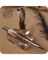 Triton Rollerball Pen Handmade - Exotic Reeves Feathers, Chrome