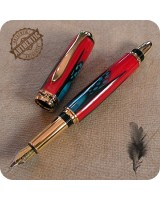 Sedona Fountain Pen Handmade - Exotic Blue & Red Feathers