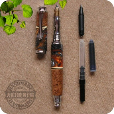 Virage Fountain Pen - Burled Wood, Acrylics, Amalgam-Mutt, M3 +