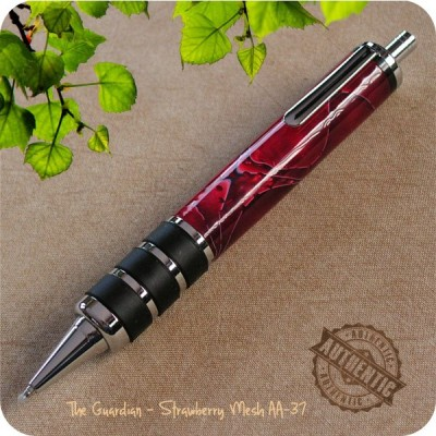 Guardian Ballpoint Click Pen handcrafted from Strawberry Mesh Acrylic