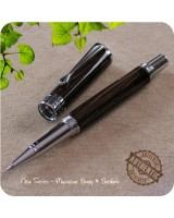 New Series Rollerball Pen Handmade Macassar Ebony Wood, Chrome