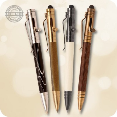 Bolt Action Ballpoint Tec Pen (Parker) - Wood, Acrylic, Antler, Metal