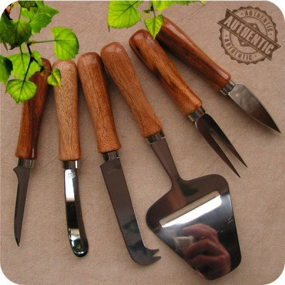 Handmade 6pc Hors D'Ouvres Cutlery Set S. American Jobillo Wood