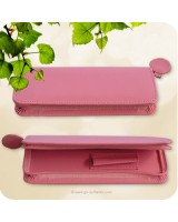Pink Zippered Leatherette Pen Case - Medium Sized Pens