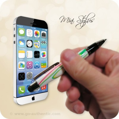 Mini Touch Stylus Ballpoint Pen in Happy Trails Acrylic, Gun Metal