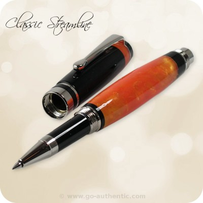 Flat Top Streamline Rollerball Pen - Orange Crush Black Acrylic