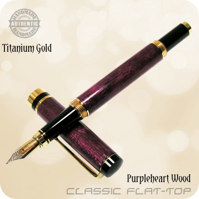 Classic Flat Top Fountain Pen - Purpleheart Amaranth Wood