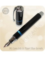 Magnetic Graduate Fountain Pen Handmade - Volcanic Lava & Planet Blue Accents