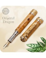Oriental Dragon Fountain Pen 22k Gold Rhodium - Custom Handmade
