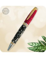 Cigar Ultra Ballpoint Twist Pen - Crushed Red & Black Acrylic Handmade