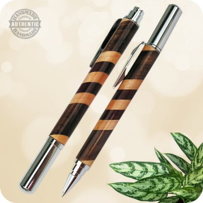 Rollester Rollerball Pen Handcrafted - Burl Wood, Acrylic, Tru-Stone +