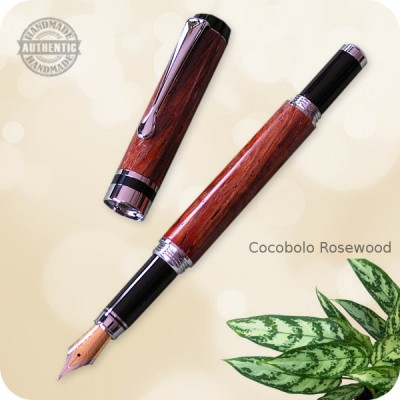 Classic Flat Top Fountain Pen Chrome - Cocobolo Rosewood