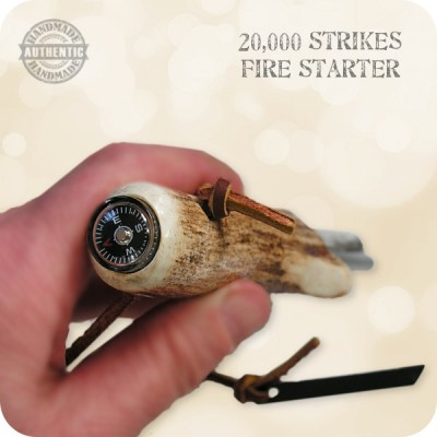 Survival Fire Starter 20,000 Strikes handcrafted Deer Antler Horn