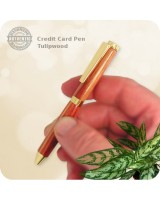 Credit Card Mini Ballpoint Twist Pen, Tulipwood Handmade
