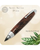 Artist Sketch Clutch Pencil, 5.6mm Lead - Handmade Myrtle Burl Wood