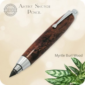 Artists Sketch Clutch Pencil, 5.6mm Lead handcrafted Myrtle Burl Wood
