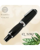 El Toro Compact Fountain Pen, Chrome - African Blackwood Handmade