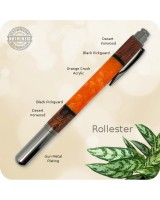 Rollester Rollerball Pen, Segmented Desert Ironwood & Orange Crush Acrylic, Handcrafted