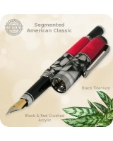 American Classic Fountain Pen, Black Titanium - Segmented Red & Black Handmade