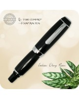 El Toro Compact Fountain Pen, Chrome - Ebony Resin Handmade