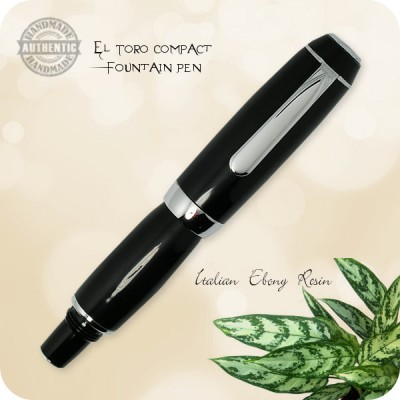 Handcrafted El Toro Compact Fountain Pen Italian Ebony Resin, Chrome - Now convertible to Rollerball or Ballpoint Model