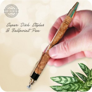 Mallee Burl Wood Ballpoint Pen (Handcrafted) - Super Stylus Disc