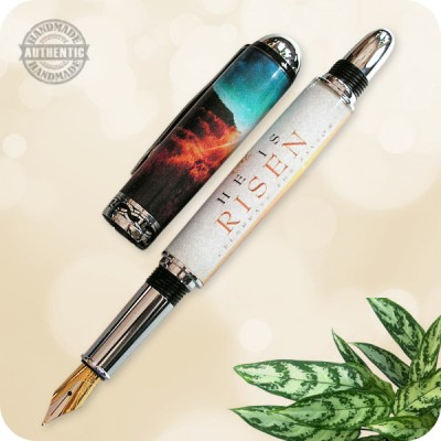 Handmade Sedona Rollerball Fountain Pen - He Is Risen Special Acrylic Cast