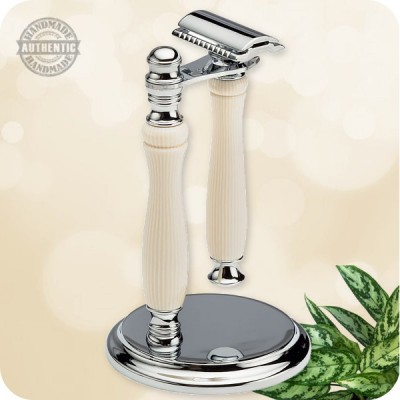 Traditional Safety Razor with Stand  - Wood, Acrylic, Antler, Metal +