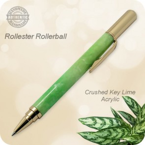 Handmade Rollester Rollerball Pen Crushed Key Lime Acrylic, Gold