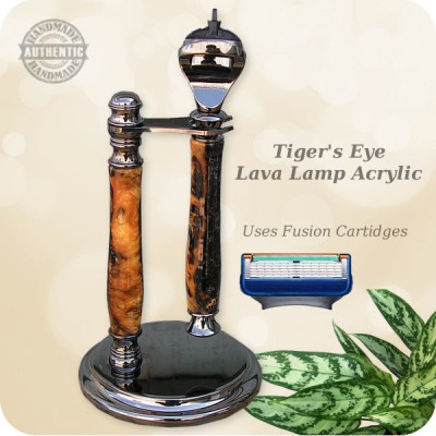 Classic Fusion Razor w/ Stand - Handcrafted Tiger's Eye Lava Lamp
