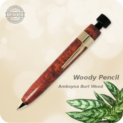 Woody Sketch Pencil, 2mm Lead handcrafted Amboyna Burl Wood