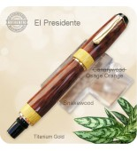 El Presidente Rollerball Pen Handmade Rare Snakewood w/ Osage Orange Accents