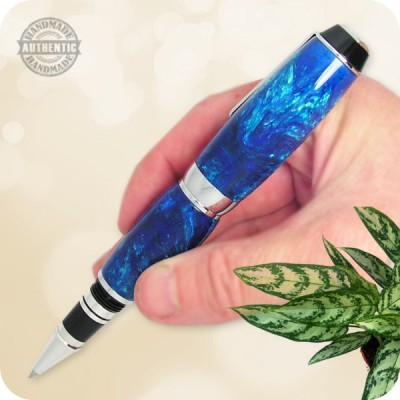 Handcrafted El Toro Compact Fountain Pen Blue Spell Lava Explosion Acrylic, Chrome