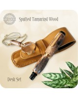 Handmade Fountain Pen, Spalted Tamarind Wood in Titanium Gold - El Toro
