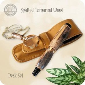 Handcrafted Wooden Fountain or Rollerball Pen & Magnifying Glass Set, Exotic Tamarind Wood - El Toro Compact Model