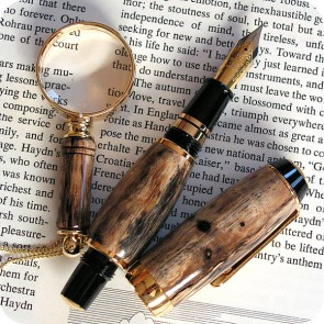 Handcrafted El Toro Compact Fountain Pen Tamarind Wood, Titanium Gold - Bonus Magnifying Glass Pendant